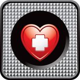 Heart with first aid icon on checkered web button Stock Photography