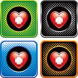 Heart with first aid icon on halftone web buttons Royalty Free Stock Photos