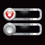 Heart with first aid icon on metal banners Stock Image