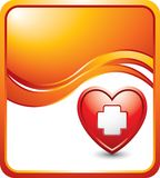 Heart with first aid icon on orange wave ad. Orange wave background with a first aid icon in a red heart Stock Photography