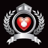 Heart with first aid icon in silver royal display Royalty Free Stock Photo