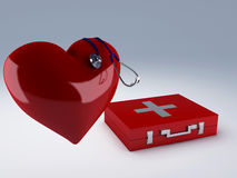 Heart and first aid kit Royalty Free Stock Photos