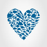 Heart fish. Heart consists of fishes. A vector illustration Stock Photo