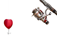 Heart - fishing tackle isolated on white. Fishing tackle isolated on white background. Valentines day concept Stock Photography