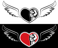 Heart, fist and wings. The tattoo design Stock Photo