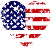 Heart flag. Torn grunge american heart flag illustration Royalty Free Stock Photography
