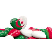 Heart with flag of algeria. On top of colourfull hearts isolated on white. 3D illustration Royalty Free Stock Image