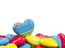 Heart with flag of aruba. On top of colourfull hearts isolated on white. 3D illustration Stock Image