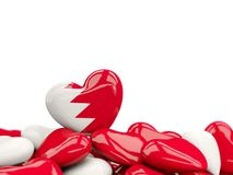 Heart with flag of bahrain. On top of colourfull hearts isolated on white. 3D illustration Royalty Free Stock Image