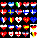 Heart Flag Collection. Austria, Argentinia, Italy, Croatia, France, Denmark, Sweden, Norway, Finland, Greece, Romania, Japan, China, Europe, Poland, Czech Stock Image