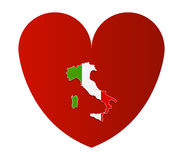 Heart with flag of italy illustrated Stock Images
