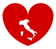 Heart with flag of italy illustrated Stock Photo