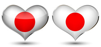 A heart with the flag of japan. Isolated on  black background Stock Photography