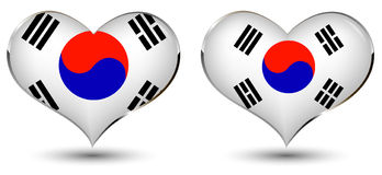 Heart with the flag of korea Stock Photos