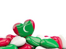 Heart with flag of maldives Stock Image
