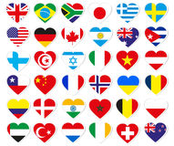 Heart flag stickers. Isolated on white Royalty Free Stock Photography