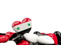 Heart with flag of syria. On top of colourfull hearts isolated on white. 3D illustration Stock Photography