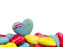 Heart with flag of tuvalu. On top of colourfull hearts isolated on white. 3D illustration Stock Photos