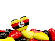 Heart with flag of uganda Royalty Free Stock Images