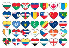 Heart flags set Stock Photos