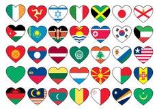 Heart flags set Royalty Free Stock Photos