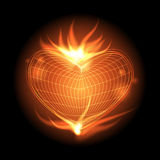 Heart flame. Abstract heart with fire on black Royalty Free Stock Photos