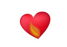Heart with flame Stock Images