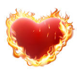 Heart in flame isolated on white. EPS 10. Burning heart on white. Heart in flame isolated on white background. EPS 10 vector file included stock illustration