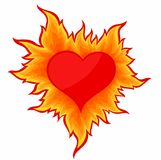 Heart with flame. Red heart in a hot flame Royalty Free Stock Photo