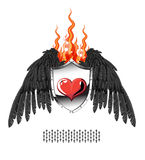 Heart, the flame shield, wings. Heart of aloe on the shield with wings and a flame of fire Royalty Free Stock Photography