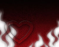 Heart in flames. Red heart surrounded by abstract flames on a red structured background Royalty Free Stock Photo