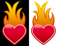 Heart with Flames. A glossy red heart with flames, isolated on black and white background. Eps file available Royalty Free Stock Photo