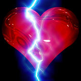 Heart flash. Abstract image of a heart with bright flash stock illustration