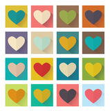 Heart, flat design, square set buttons Stock Photos