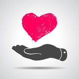 Heart in flat hand icon Royalty Free Stock Image