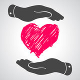 Heart in flat hands icon Stock Photo