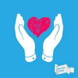 Heart in flat hands icon Royalty Free Stock Images
