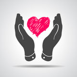 Heart in flat hands icon Royalty Free Stock Image