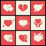 Heart flat icons set for valentines day and wedding Stock Image