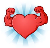 Heart Flexing Muscles Cartoon Character. A sexy red heart cartoon character posing like a body builder with flexed muscles Stock Image