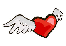Heart flits on wings. The drawn symbol of love heart with wings vector illustration