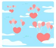 Heart is floating on the sky with balloons Royalty Free Stock Photos