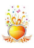 Heart and floral background Royalty Free Stock Image
