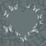 Heart on a floral background with butterflies. Vector illustrati Stock Images