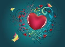 Heart with Floral and Butterflies Stock Photos