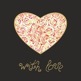Heart with floral decor Stock Images