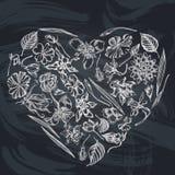 Heart Floral Design With Chalk Ylang-ylang, Impatiens, Daffodil, Tigridia, Lotus, Aquilegia Royalty Free Stock Image