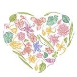 Heart Floral Design With Pastel Ylang-ylang, Impatiens, Daffodil, Tigridia, Lotus, Aquilegia Stock Photos