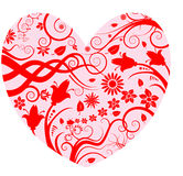 Heart with floral designs Royalty Free Stock Images