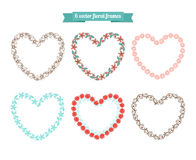Heart floral frames Royalty Free Stock Image